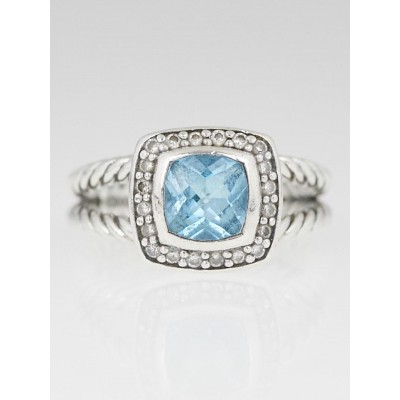 David Yurman 7mm Blue Topaz and Diamond Petite Albion Ring Size 6