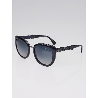 Chanel Blue Acetate Cat Eye Frame and Bijou Sunglasses-5356