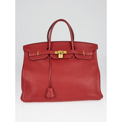 Hermes 40cm Rouge H Clemence Leather Gold Plated Birkin Bag