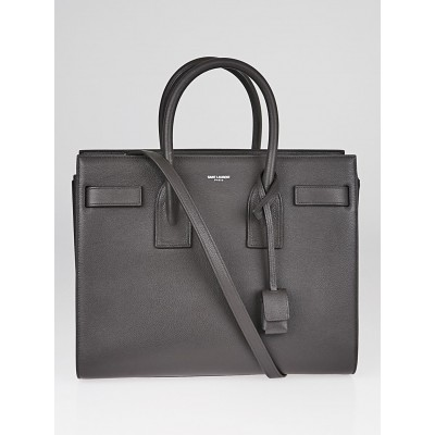 Yves Saint Laurent Grey Pebbled Leather Classic Small Sac de Jour Tote Bag