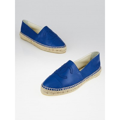 Chanel Blue Lambskin Leather CC Espadrille Flats Size 9.5/40