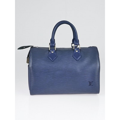 Louis Vuitton Myrtille Blue Epi Leather Speedy 25 Bag
