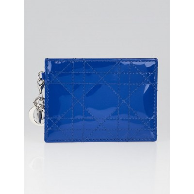 Christian Dior Tahiti Blue Cannage Quilted Patent Leather Lady Dior Card Case