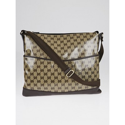 Gucci Brown GG Crystal Canvas Messenger Bag