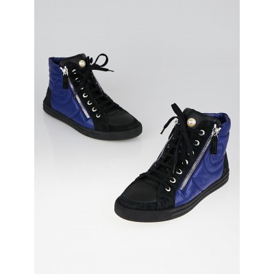 Chanel Blue Coated Fabric and Suede High Top Sneakers Size 8/38.5