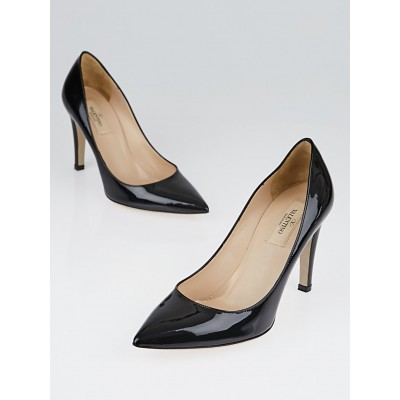 Valentino Black Patent Leather Rockstud Heeled Pumps Size 7/37.5