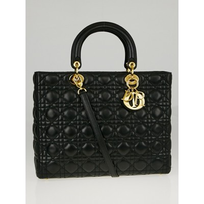 Christian Dior Black Cannage Quilted Lambskin Leather Large Lady Dior Bag