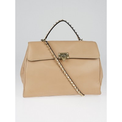 Valentino Beige Leather Rockstud Large Top Handle Bag