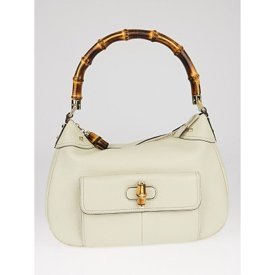 Gucci White Leather Bamboo Top Handle Bag