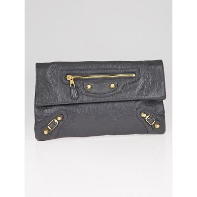 Balenciaga Gris Tarmac Lambskin Leather Giant 12 Envelope Clutch Bag