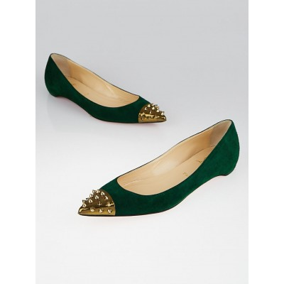 Christian Louboutin Green Suede Geo Spikes Pointed-Toe Flats Size 10/40.5