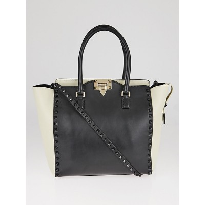 Valentino Black/White Smooth Calfskin Leather Rockstud Double Handle Tote Bag