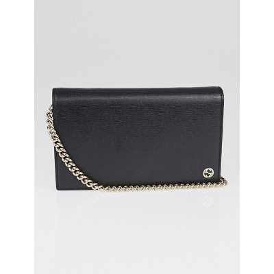 Gucci Black Leather Betty Shanghai Wallet-on-Chain Clutch Bag