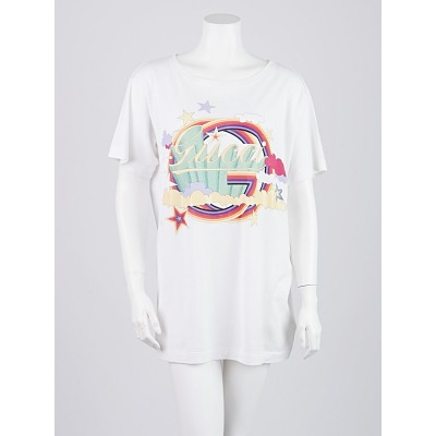 Gucci White Cotton Printed Signature T-Shirt Size L
