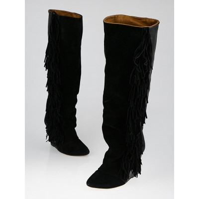 Isabel Marant Black Suede and Leather Manly Fringe Knee-High Wedge Boots Size 6.5/37