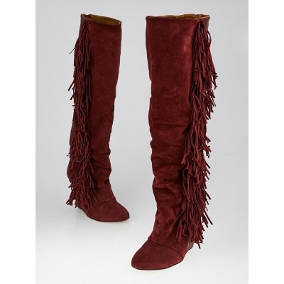 Isabel Marant Bordeaux Suede Manly Fringe Knee-High Wedge Boots Size 6.5/37