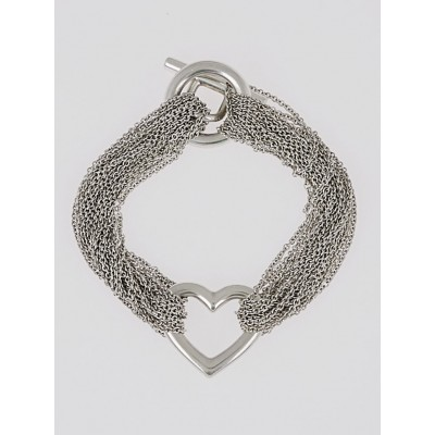 Tiffany & Co. Sterling Silver Ten Row Chain Heart Toggle Bracelet