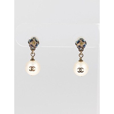 Chanel Faux Pearl CC Logo Drop Earrings