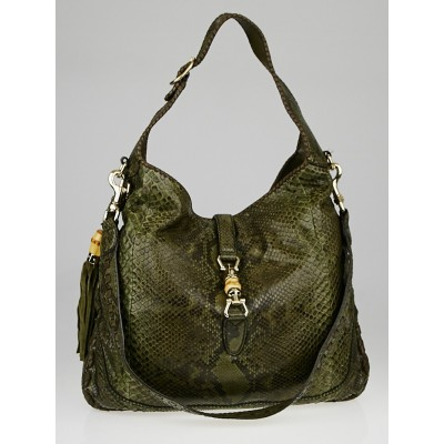 Gucci Green/Brown Python Large New Jackie Shoulder Bag
