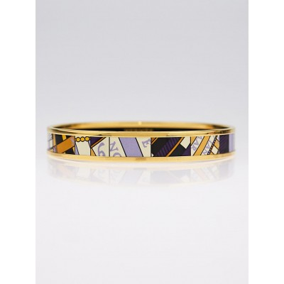 Hermes Printed Enamel Gold Plated Narrow Bangle Bracelet Size 70