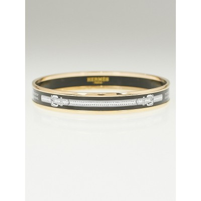 Hermes Black Printed Enamel Gold Plated Narrow Bangle Bracelet