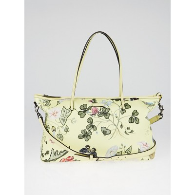 Gucci Limited Edition Yellow Coated Canvas Flora Knight Tote Bag