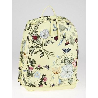 Gucci Limited Edition Yellow Coated Canvas Flora Knight Backpack Bag