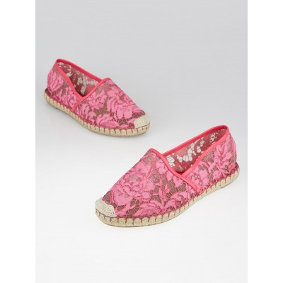 Valentino Pink Lace Espadrille Flats Size 7.5/38