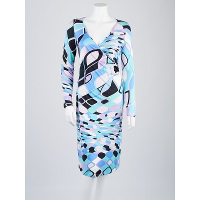 Emilio Pucci Blue Print Silk Long Sleeve V-Neck Dress Size 10/44