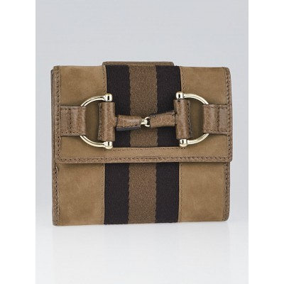 Gucci Brown Horsebit Web Nubuck French Wallet