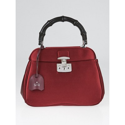 Gucci Red Satin Lady Lock Bamboo Top Handle Bag