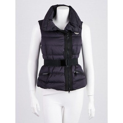 Moncler Navy Quilted Down Labas Belted Vest Size 0