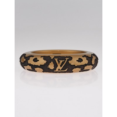 Louis Vuitton Gold Lacquer Wood Leomonogram Bangle Bracelet