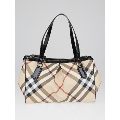 Burberry Black Patent Leather Supernova Check Coated Canvas Bag