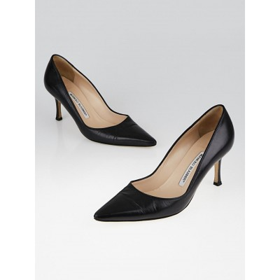 Manolo Blahnik Black Leather Pointed-Toe Pumps Size 5.5/36