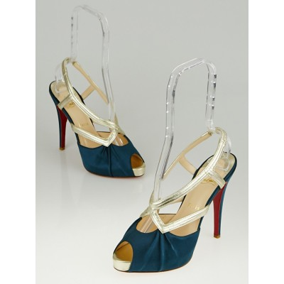 Christian Louboutin Green Silk and Gold Leather Josefa 120 Platform Sandals Size 9.5/40