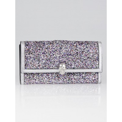 Alexander McQueen Multicolor Glitter and Leather Continental Skull Wallet