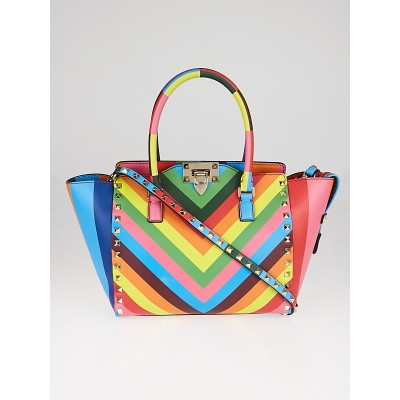 Valentino Rainbow Multicolor Leather 1973 Rockstud Top Handle Bag