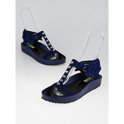 Balenciaga Blue Officier Suede and Leather Studded Platform Sandals Size 9.5/40