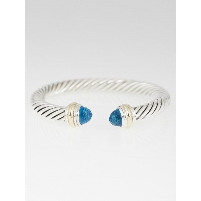 David Yurman 7mm Sterling Silver and Blue Topaz Cable Bracelet