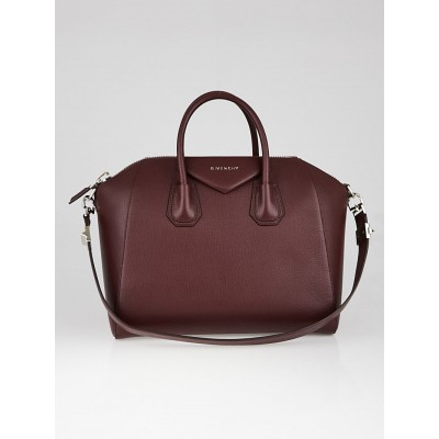 Givenchy Oxblood Red Sugar Goatskin Leather Medium Antigona Bag