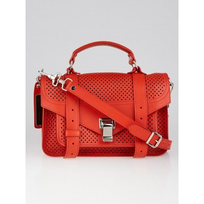 Proenza Schouler Fire Red Perforated Leather PS1 Tiny Satchel Bag