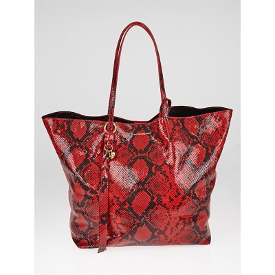 Alexander Red Snake Embossed Leather Tote