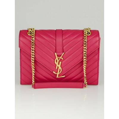 Yves Saint Laurent Bubblegum Chevron Quilted Lambskin Leather Monogram Medium Flap Bag