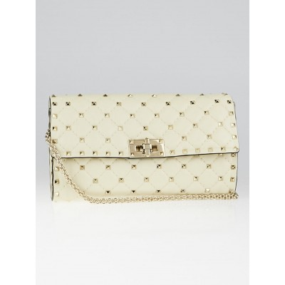 Valentino Ivory Leather Rockstud Spike Shoulder Flap Bag