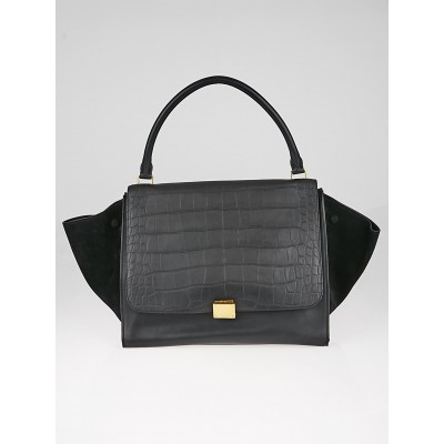 Celine Black Crocodile Embossed Leather and Suede Small Trapeze Bag