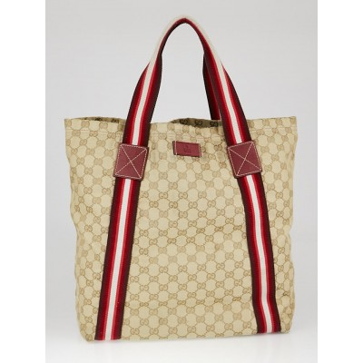 Gucci Beige/Ebony GG Canvas Vintage Web Large Tote Bag