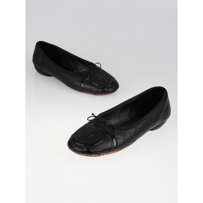 Chanel Black Leather Cambon Ballet Flats Size 8.5