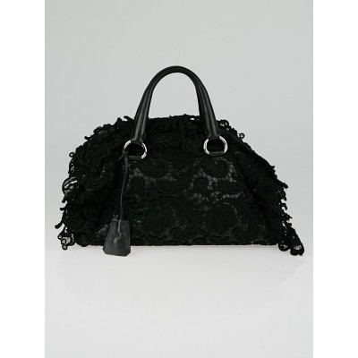 Prada Black Lace and Leather Pizzo S Satchel Bag BL0547