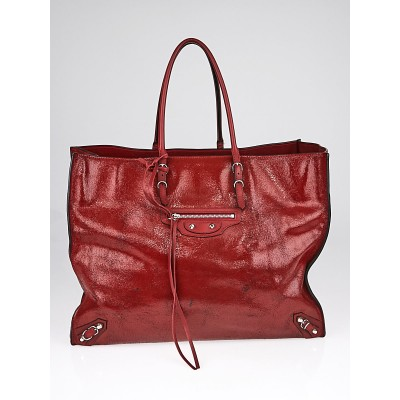 Balenciaga Red Distressed Patent Leather Papier A4 Tote Bag
